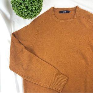 J. Crew 100% lambswool crewneck mustard sweater